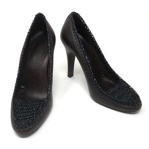 Burberry Brown Pumps Woven Stiletto Heels 39.5
